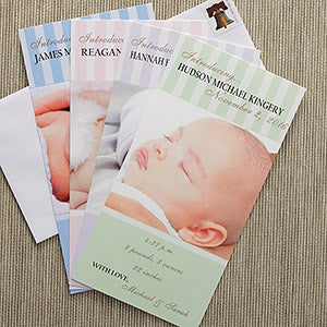 Photo Personalized Birth Announcements - Introducing Baby - 8091