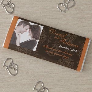 Wedding Favor Personalized Chocolate Bar Wrappers - Paisley - 8118