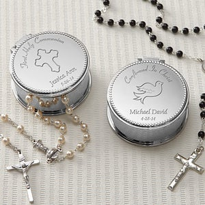 Personalized Silver Engraved Rosary Case - 8222