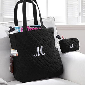 Personalized Quilted Tote Bag & Makeup Bag Set - 8250