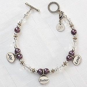 Personalized Charm Bracelet - Joy, Sister, Love - 8251