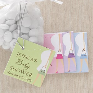 Personalized Baby Shower Party Favor Tag - Baby Bump - 8314
