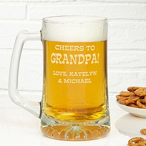 Personalized Glass Beer Mug In Cheers Design