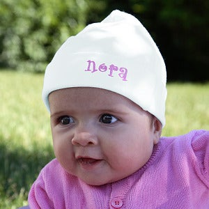 Baby Hat With Embroidered Name - Snug As A Bug Design - 8327