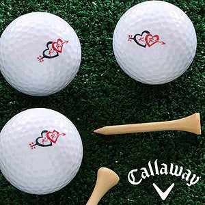 Personalized Golf Ball Set - Cupid's Arrow Valentine's Day Designs - 8336