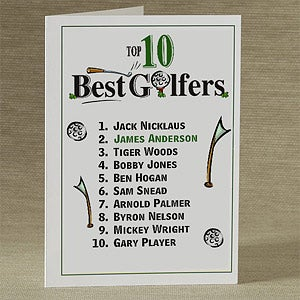 Personalized Top 10 Golfers Greeting Card