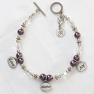 Personalized Charm Bracelet for Mom - Love, Mother, Joy - 8348