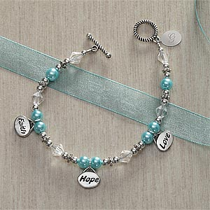 Personalized Charm Bracelets - Faith, Hope, Love - 8355