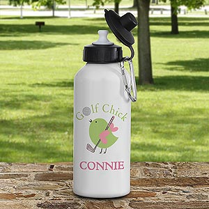 Personalized Aluminum Water Bottles - Golf Chick - 8439
