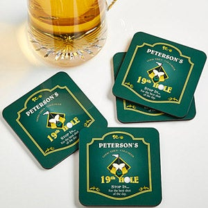 Personalized Golf Bar Coasters - 19th Hole - 8442