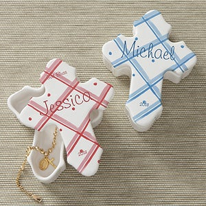 Personalized Cross Trinket Box - Prayerful Blessings - 8487
