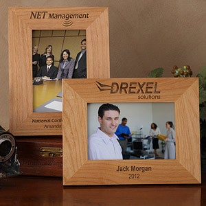 Personalized Corporate Engraved Logo Wood Photo Frame - 8526