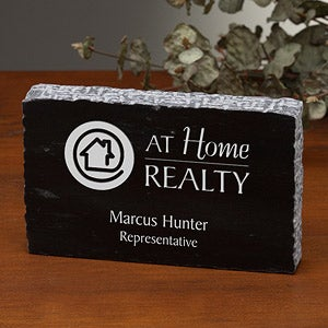 Personalized Corporate Engraved Logo Marble Paperweight - 8541