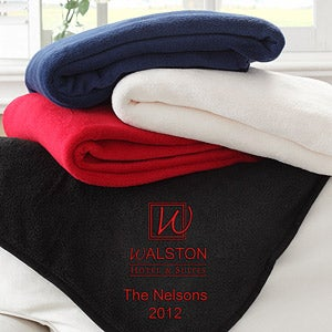Personalized Corporate Embroidered Logo Fleece Throw - 8544