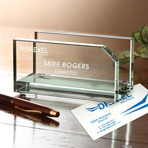 Personalized Logo Glass Business Card Holder - 8554