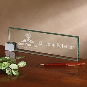 Personalized Corporate Engraved Logo Glass Nameplate - 8555