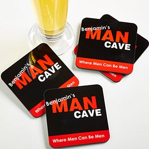 Personalized Drink Coaster Set - Man Cave - 8577