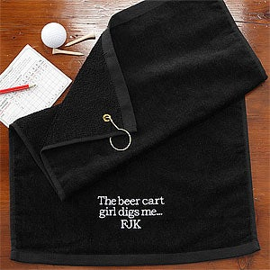 Embroidered Black Personalized Golf Towels - You Design It - 8594