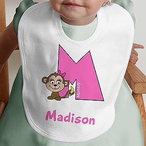 Personalization Mall Girls Alphabet Animal Personalized Baby Bibs at Sears.com