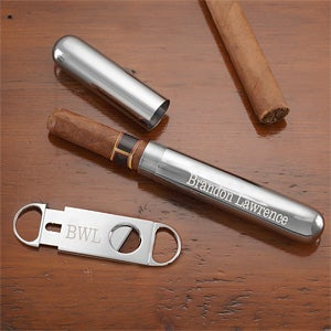 Engraved Silver Cigar Case and Cutter Set - 8655