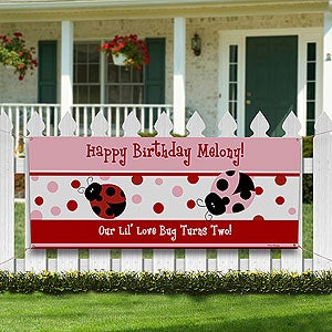 Personalized Birthday Party Banner - Ladybugs - 8662
