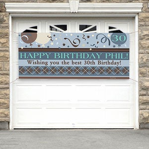 Personalized Happy Birthday Banners - Argyle Design - 8734