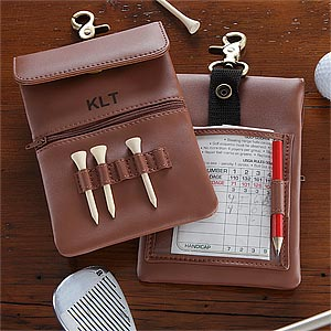 Personalized Golf Accessory Bag - Brown Leather - 8737