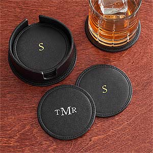 Personalized Drink Coasters - Black Leather - 8740