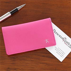 Personalized Leather Business Card Case - 8747