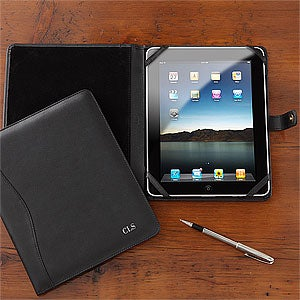 Personalized iPad Case - Black Leather - 8748