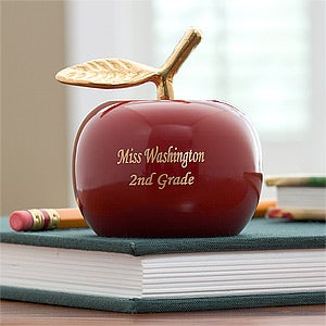 Personalized Red Apple Brass Teacher Bell