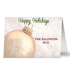 Personalized White Ornament Christmas Cards - 8884