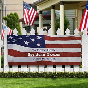 Personalized military welcome home banner american flag for Patriotic welcome home decorations