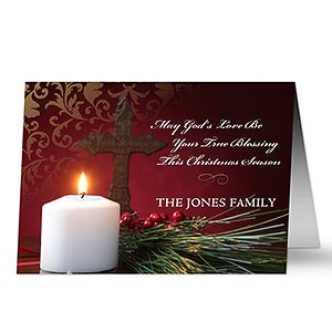 personalized light of christmas holiday cards envelopes holiday