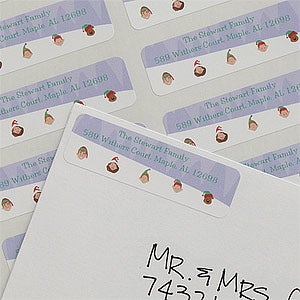 Sledding Family Personalized Characters Return Address Labels - 8994