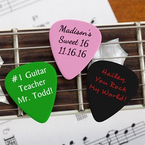 Personalized Guitar Picks - Custom Text & Color - 9054
