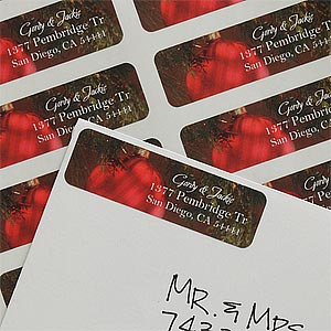 Personalized Red Ornament Holiday Return Address Labels - 9060