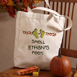 Kids Personalized Halloween Treat Bag - Trick or Treat Smell My Feet - 9092