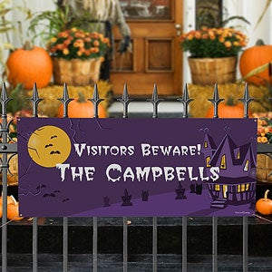 Personalized Halloween Banners - Haunted House - 9107