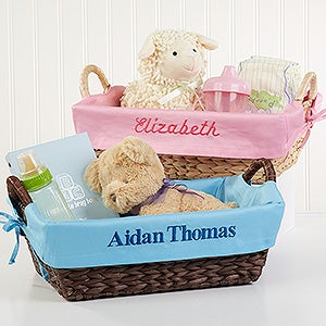 Personalized Wicker Baskets For Baby Girls Baby Gifts