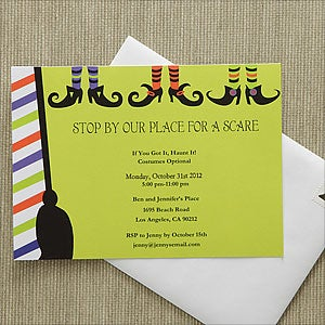 Personalized Halloween Party Invitations - Witch - 9150