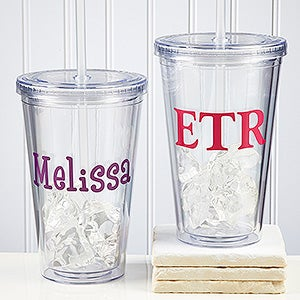 Personalized Reusable Drink Cup - Insulated Acrylic - 9153