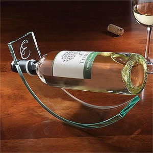 Personalized Crystal Wine Cradle - 9178