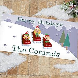 Personalized Holiday Doormats - Sledding Family - 9184