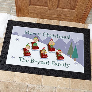 Personalized Holiday Doormats - Sledding Family - 9184