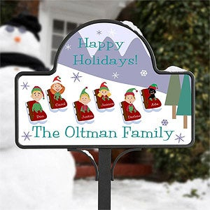 Personalized Christmas Yard Stake - Sledding Family - 9187