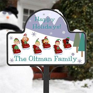 Personalized Christmas Yard Stake - Sledding Family - 9187