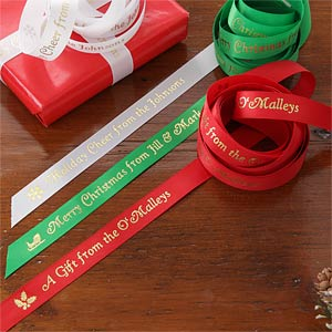 Personalized Gift Ribbon - Holiday Cheer - 9189