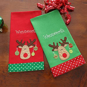 Personalization Mall Personalized Holiday Towel Set - Christmas Moose at Sears.com