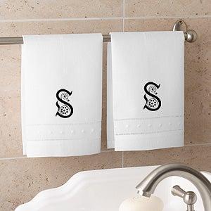 Initial Monogram Linen Hand Towel Set - 9205